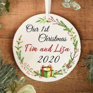 Personalized First Christmas Ornament Couples Gift